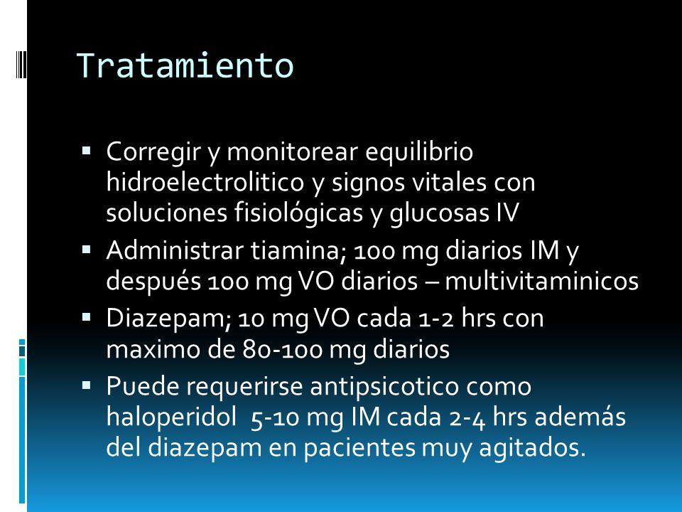 Tratamiento Corregir y monitorear equilibrio hidroelectrolitico y signos vitales con soluciones fisiológicas y glucosas IV.