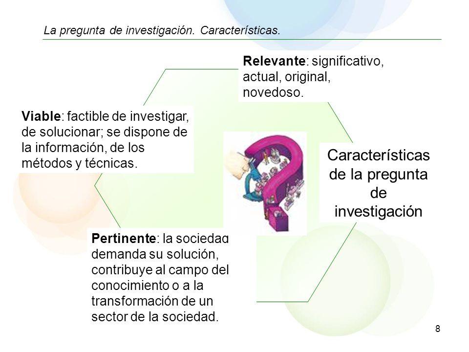 Características de la pregunta de investigación