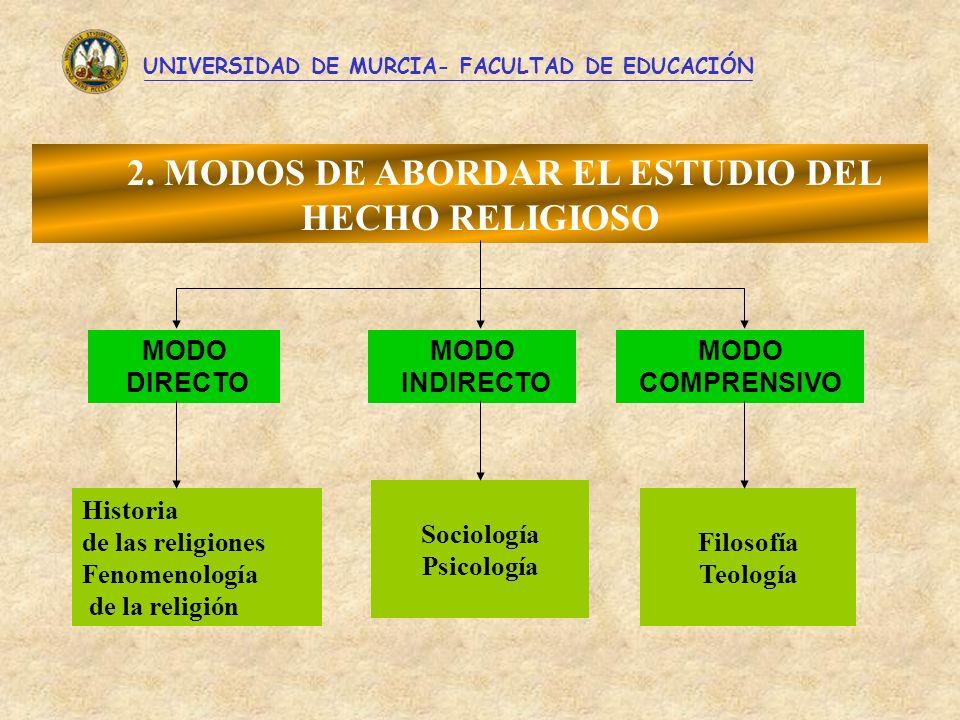 2. MODOS DE ABORDAR EL ESTUDIO DEL HECHO RELIGIOSO