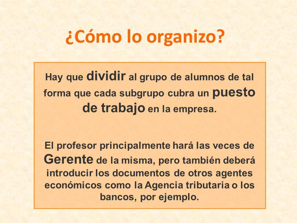 ¿Cómo lo organizo Hay que dividir al grupo de alumnos de tal forma que cada subgrupo cubra un puesto de trabajo en la empresa.