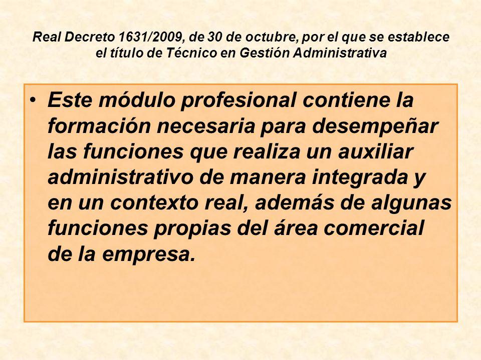 Real Decreto 1631/2009, de 30 de octubre, por el que se establece el título de Técnico en Gestión Administrativa