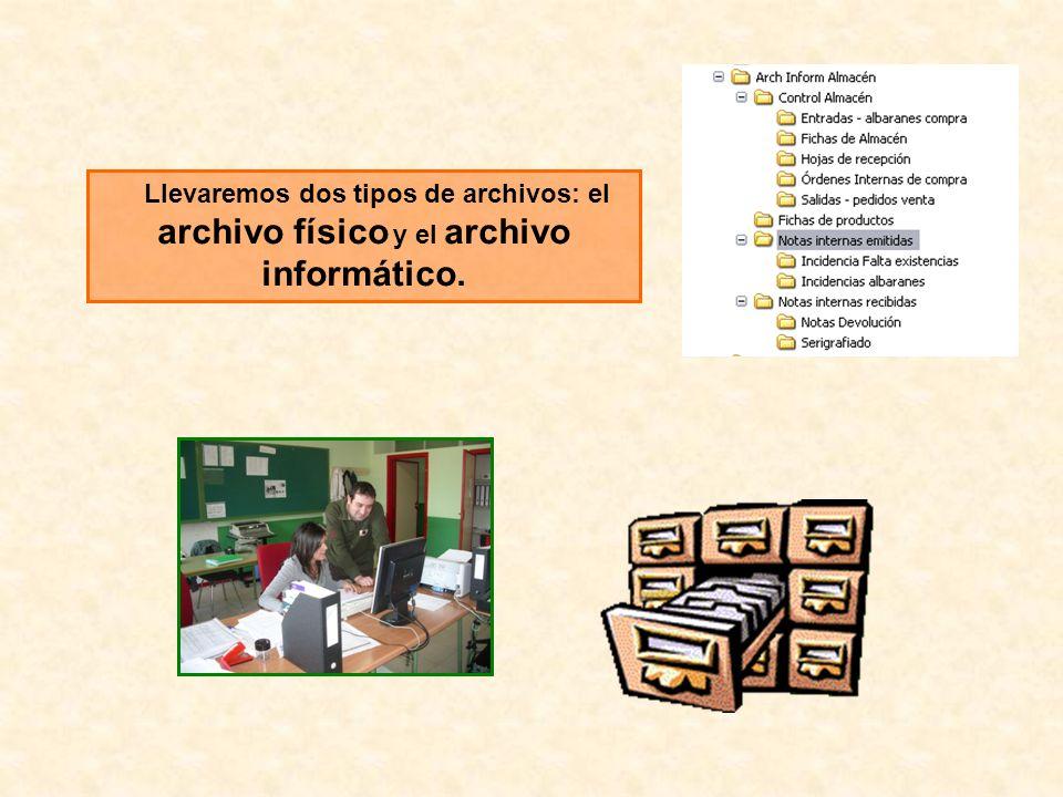 Llevaremos dos tipos de archivos: el archivo físico y el archivo informático.
