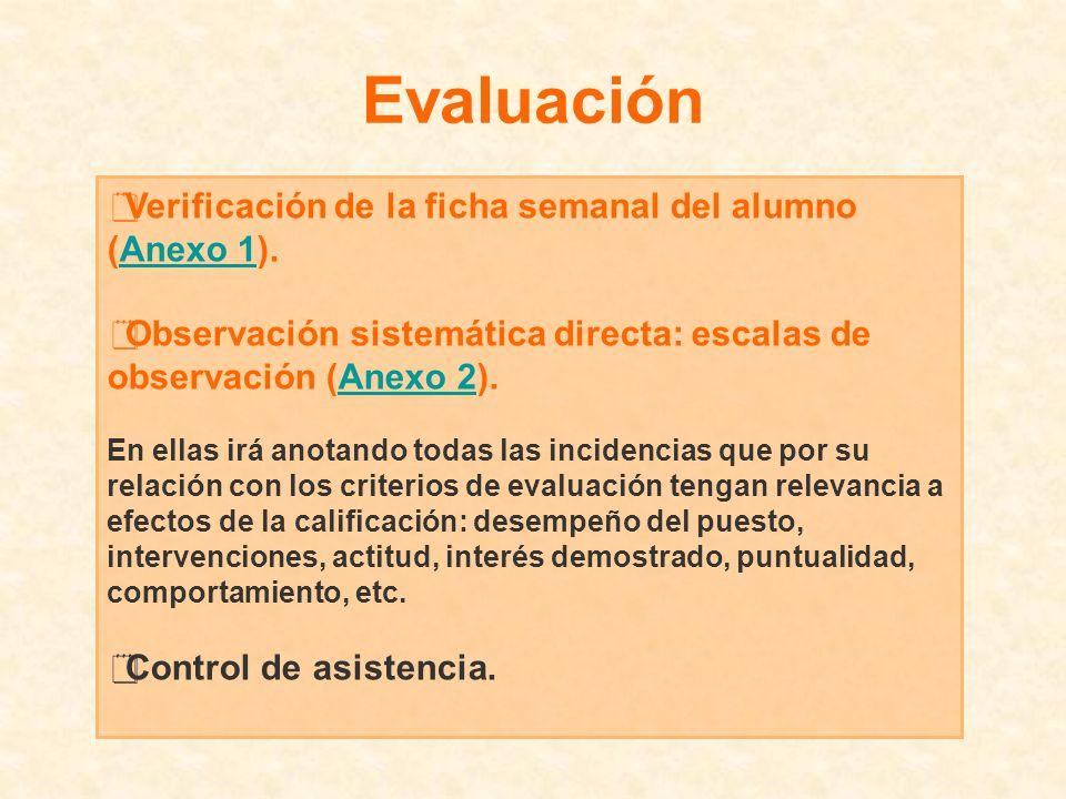 Evaluación Verificación de la ficha semanal del alumno (Anexo 1).