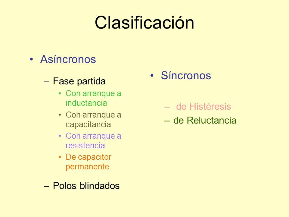 Clasificación Asíncronos Síncronos Fase partida de Histéresis
