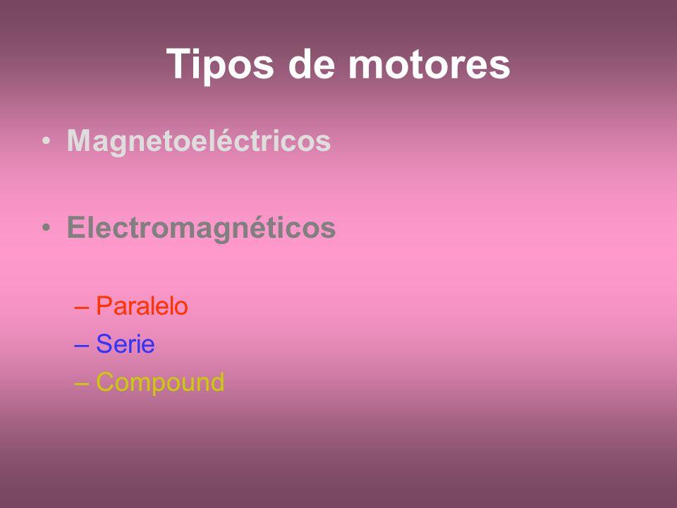 Tipos de motores Magnetoeléctricos Electromagnéticos Paralelo Serie