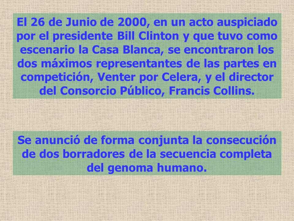 El 26 de Junio de 2000, en un acto auspiciado por el presidente Bill Clinton y que tuvo como escenario la Casa Blanca, se encontraron los dos máximos representantes de las partes en competición, Venter por Celera, y el director del Consorcio Público, Francis Collins.