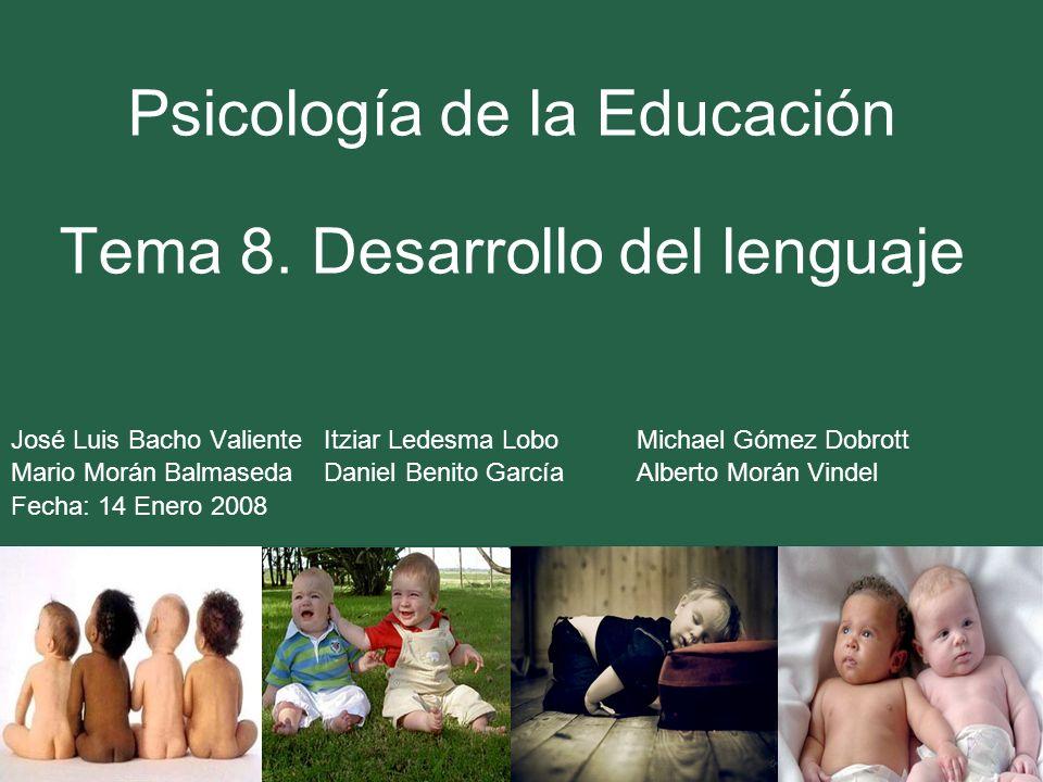 Psicología de la Educación Tema 8. Desarrollo del lenguaje