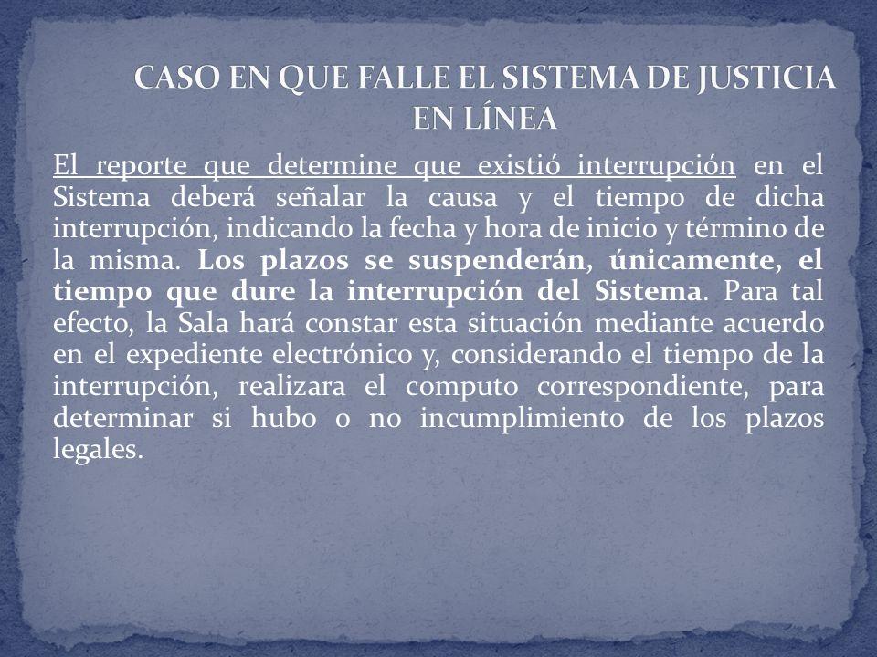 CASO EN QUE FALLE EL SISTEMA DE JUSTICIA EN LÍNEA