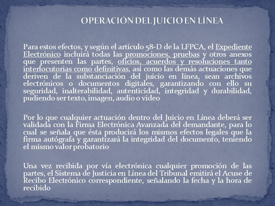 OPERACIÓN DEL JUICIO EN LÍNEA