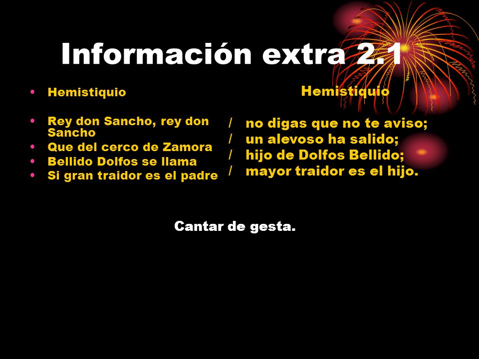 Información extra 2.1 Hemistiquio / no digas que no te aviso;