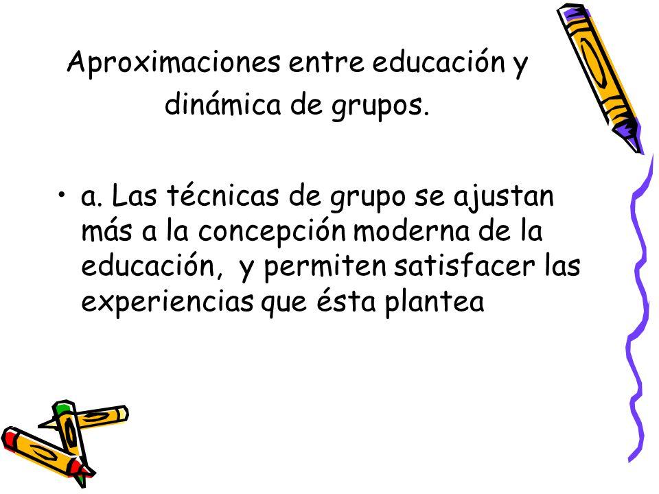 Aproximaciones entre educación y dinámica de grupos.