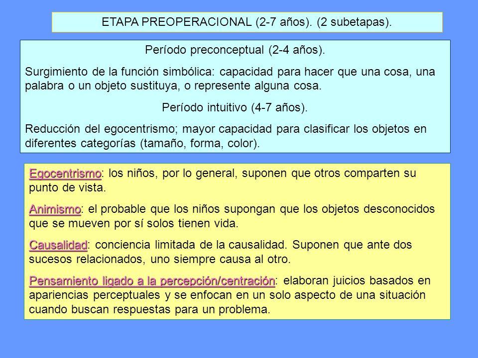 ETAPA PREOPERACIONAL (2-7 años). (2 subetapas).