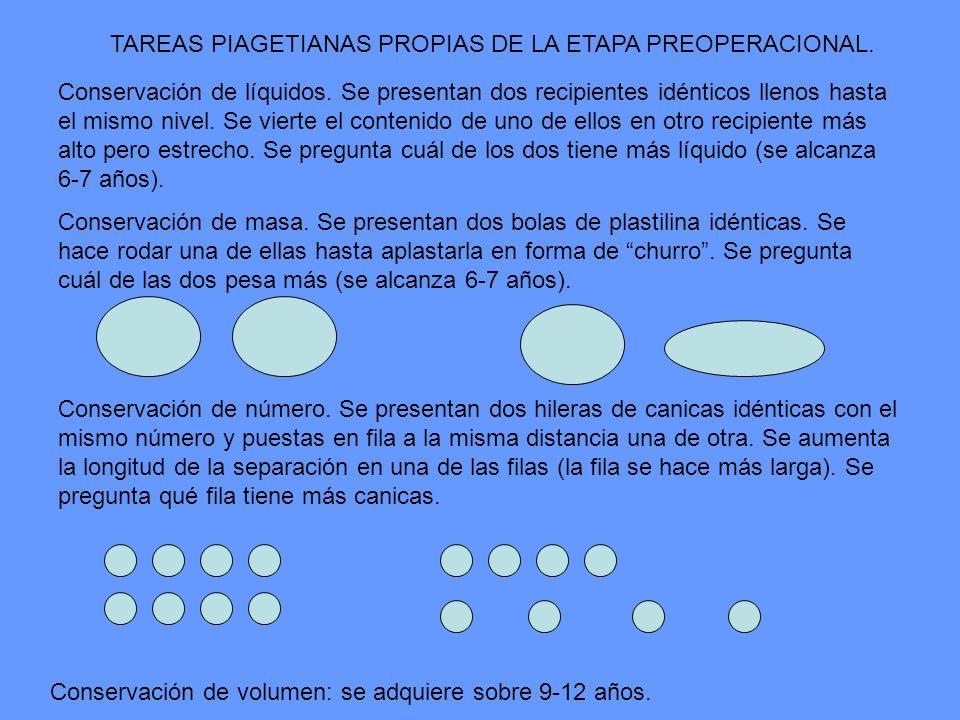 TAREAS PIAGETIANAS PROPIAS DE LA ETAPA PREOPERACIONAL.