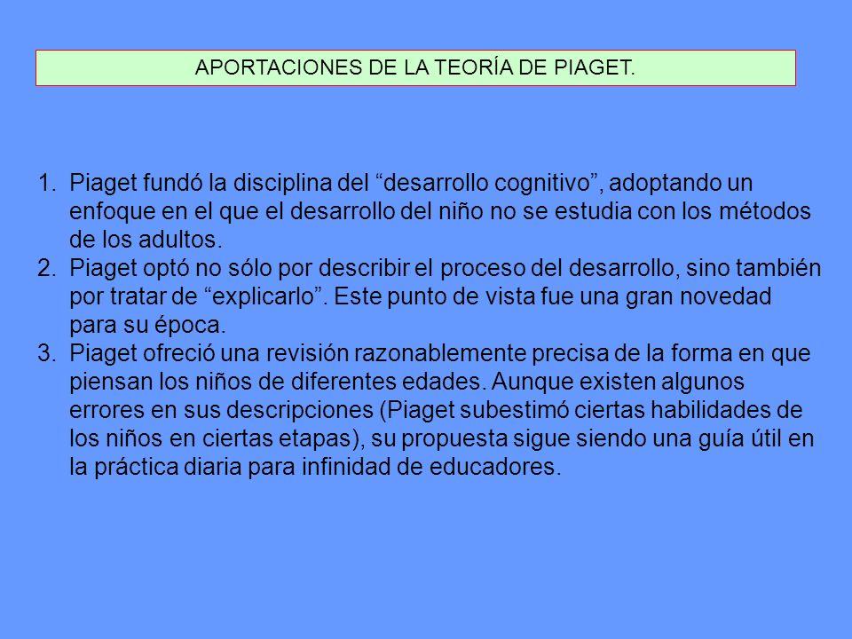 APORTACIONES DE LA TEORÍA DE PIAGET.