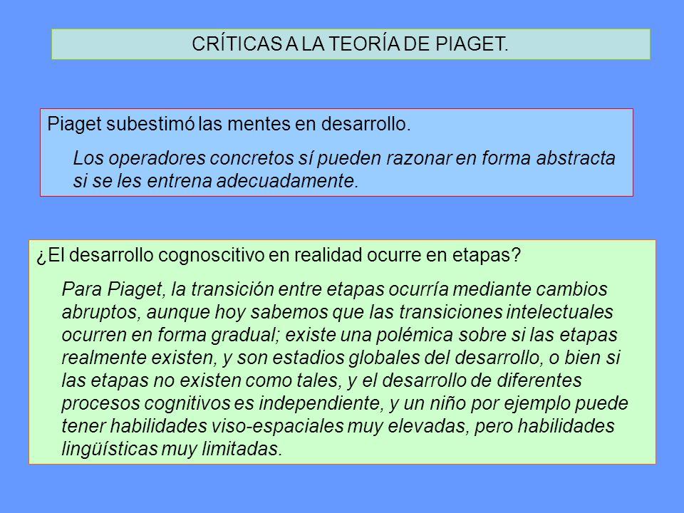 CRÍTICAS A LA TEORÍA DE PIAGET.