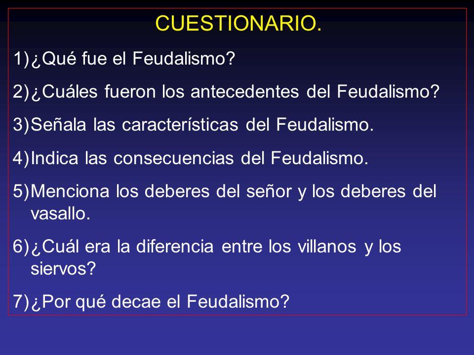 CUESTIONARIO. ¿Qué fue el Feudalismo