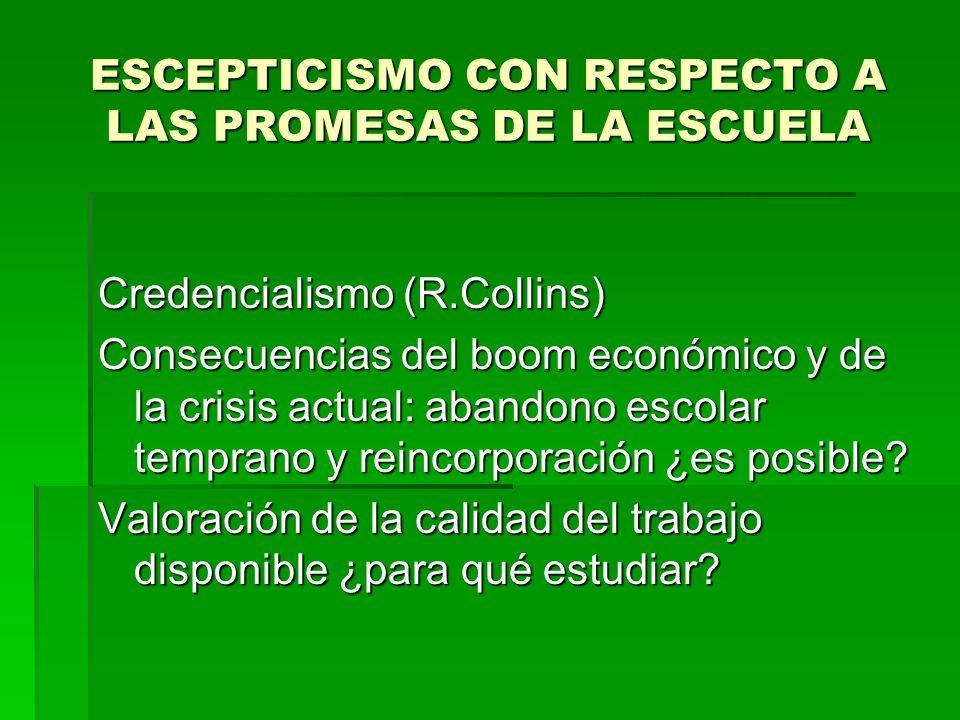 ESCEPTICISMO CON RESPECTO A LAS PROMESAS DE LA ESCUELA