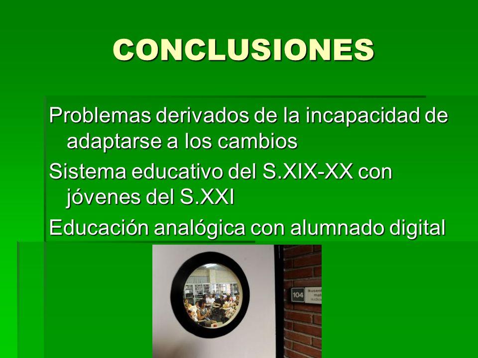 CONCLUSIONES Problemas derivados de la incapacidad de adaptarse a los cambios. Sistema educativo del S.XIX-XX con jóvenes del S.XXI.