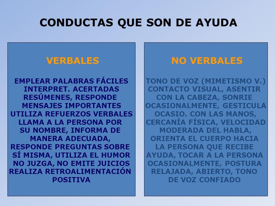 CONDUCTAS QUE SON DE AYUDA
