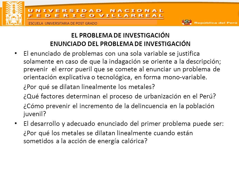 EL PROBLEMA DE INVESTIGACIÓN ENUNCIADO DEL PROBLEMA DE INVESTIGACIÓN