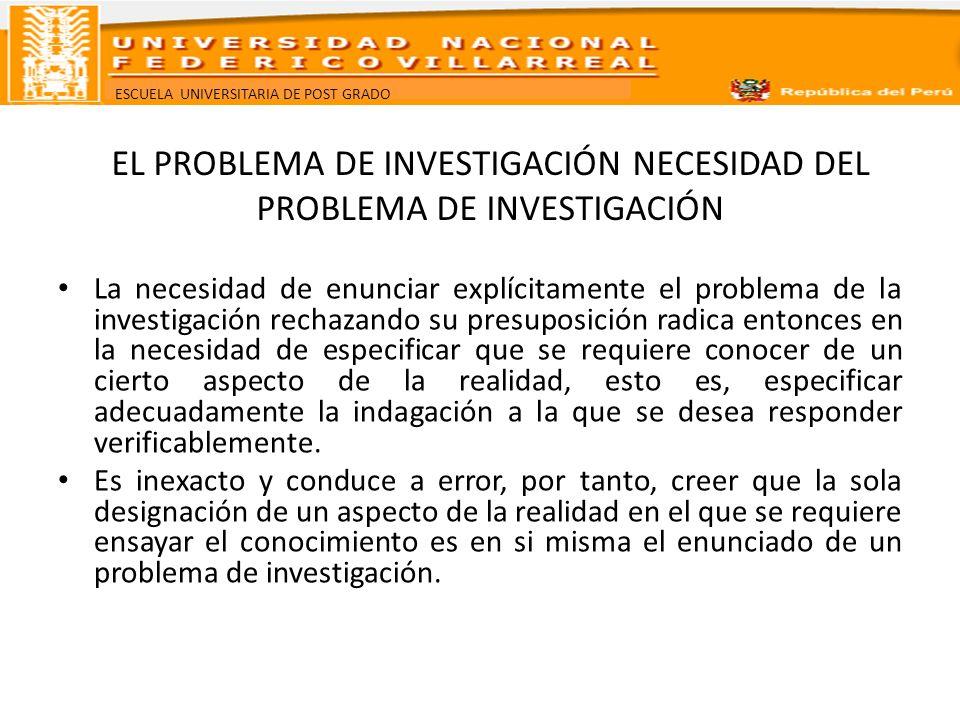 EL PROBLEMA DE INVESTIGACIÓN NECESIDAD DEL PROBLEMA DE INVESTIGACIÓN