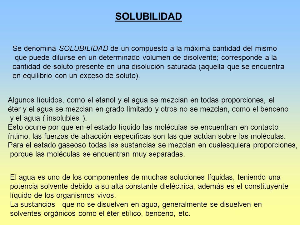 SOLUBILIDAD Se denomina SOLUBILIDAD de un compuesto a la máxima cantidad del mismo.