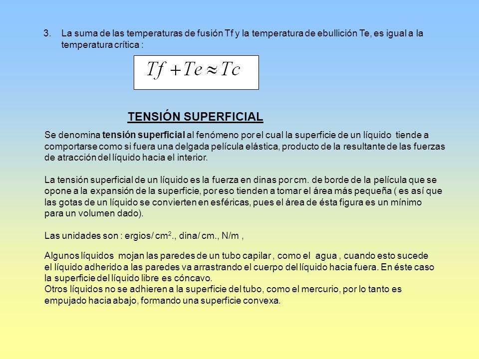 La suma de las temperaturas de fusión Tf y la temperatura de ebullición Te, es igual a la