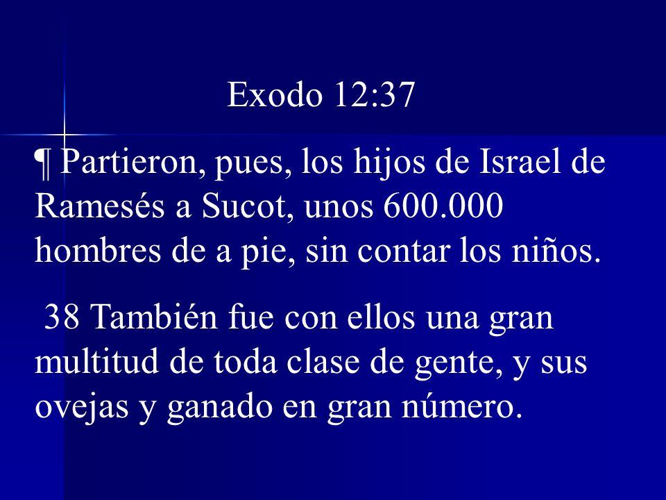 Exodo 12:37 ¶ Partieron, pues, los hijos de Israel de Ramesés a Sucot, unos 600.000 hombres de a pie, sin contar los niños.