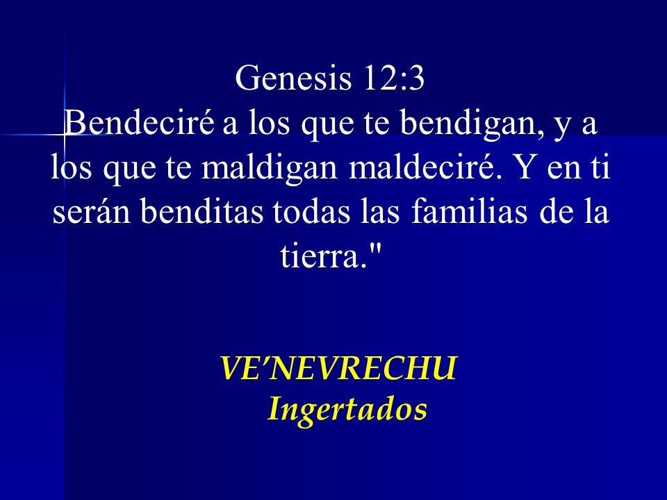 Genesis 12:3 Bendeciré a los que te bendigan, y a los que te maldigan maldeciré. Y en ti serán benditas todas las familias de la tierra.
