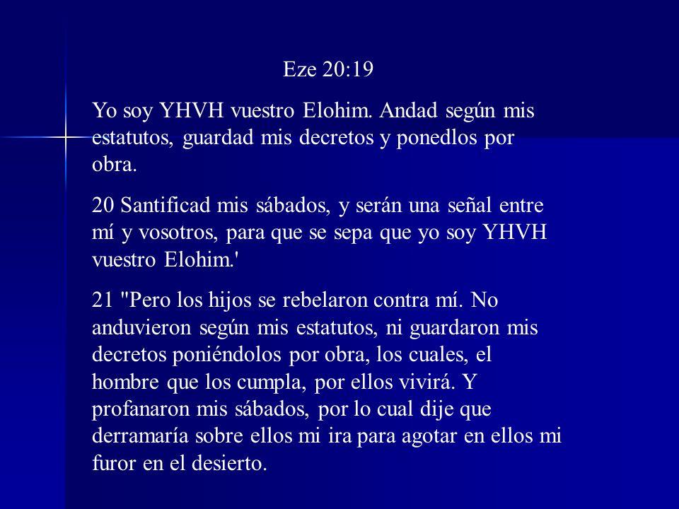 Eze 20:19 Yo soy YHVH vuestro Elohim. Andad según mis estatutos, guardad mis decretos y ponedlos por obra.
