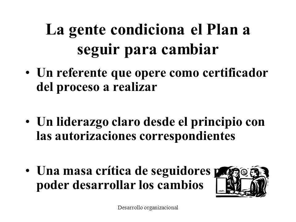 La gente condiciona el Plan a seguir para cambiar