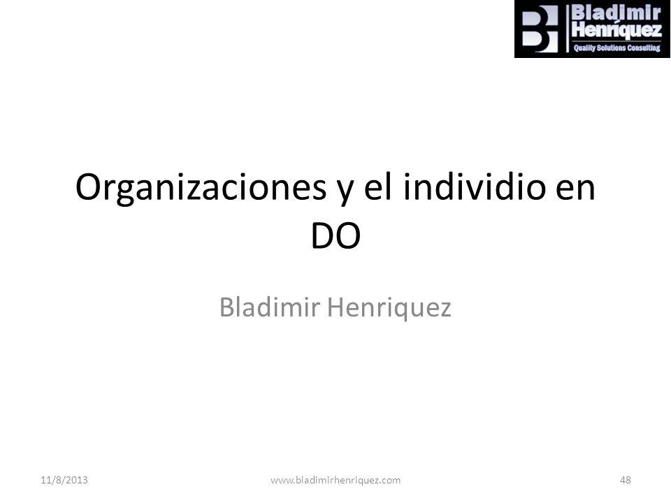 Organizaciones y el individio en DO