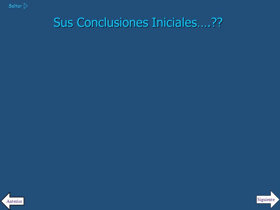 Sus Conclusiones Iniciales….
