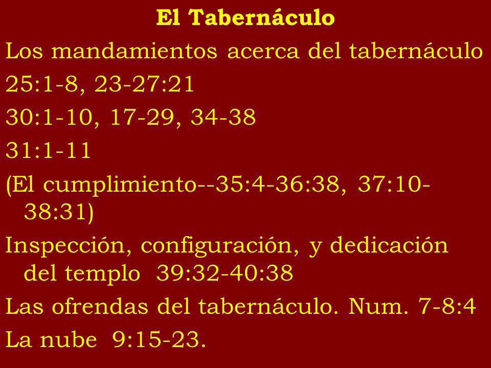 El Tabernáculo Los mandamientos acerca del tabernáculo. 25:1-8, 23-27:21. 30:1-10, 17-29, 34-38. 31:1-11.