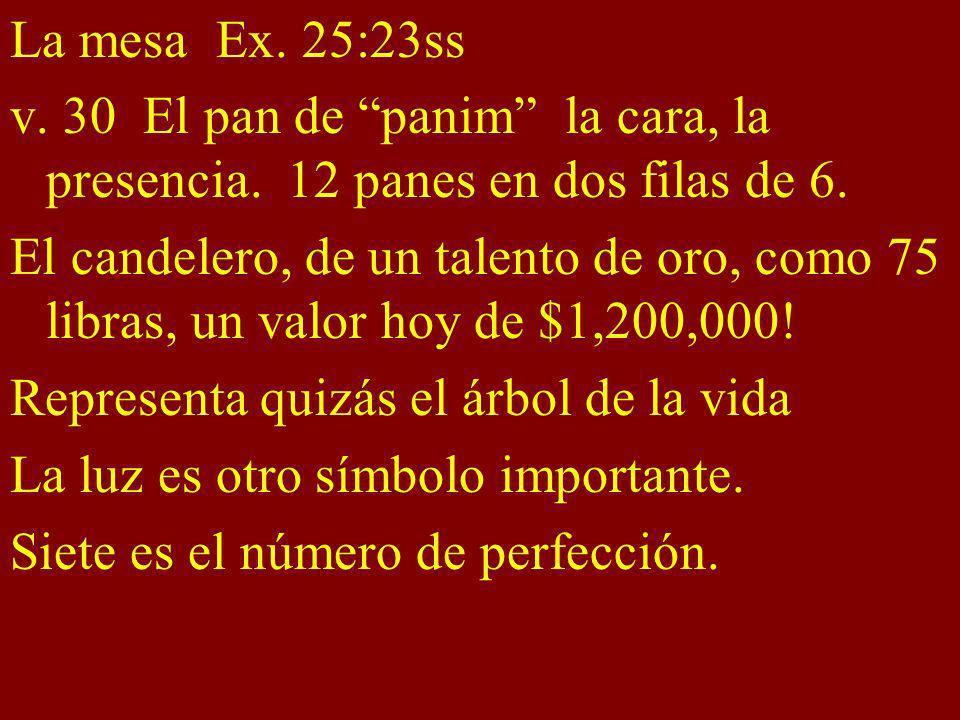 La mesa Ex. 25:23ss v. 30 El pan de panim la cara, la presencia. 12 panes en dos filas de 6.