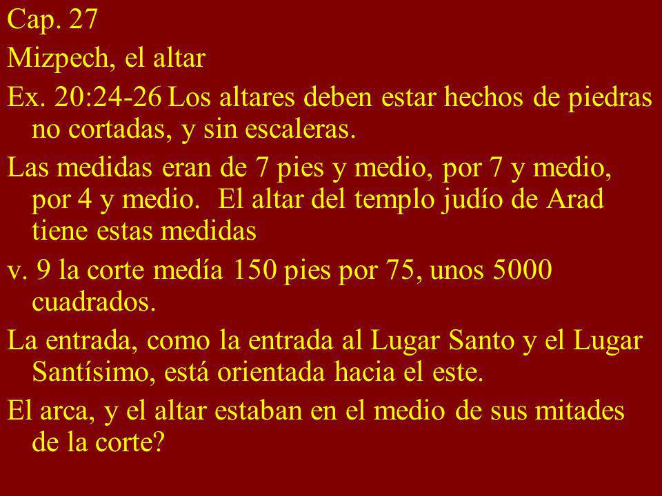 Cap. 27 Mizpech, el altar. Ex. 20:24-26 Los altares deben estar hechos de piedras no cortadas, y sin escaleras.