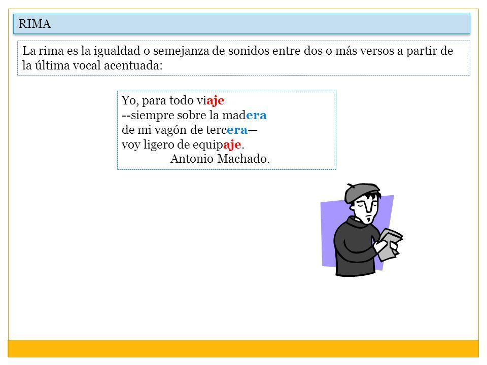 RIMA La rima es la igualdad o semejanza de sonidos entre dos o más versos a partir de la última vocal acentuada: