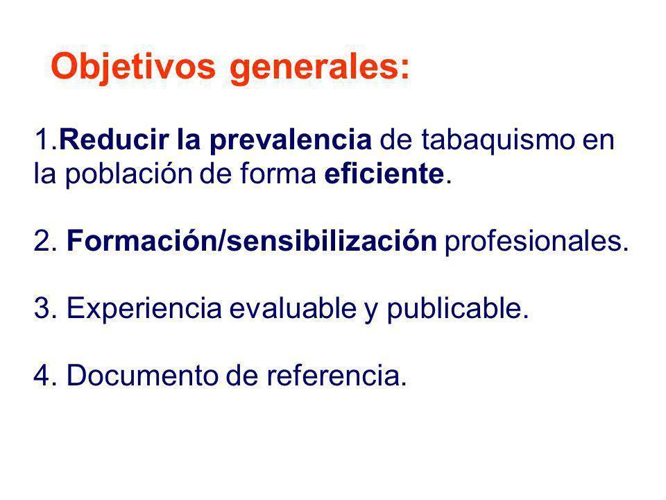 Objetivos generales: 1.Reducir la prevalencia de tabaquismo en la población de forma eficiente. 2. Formación/sensibilización profesionales.