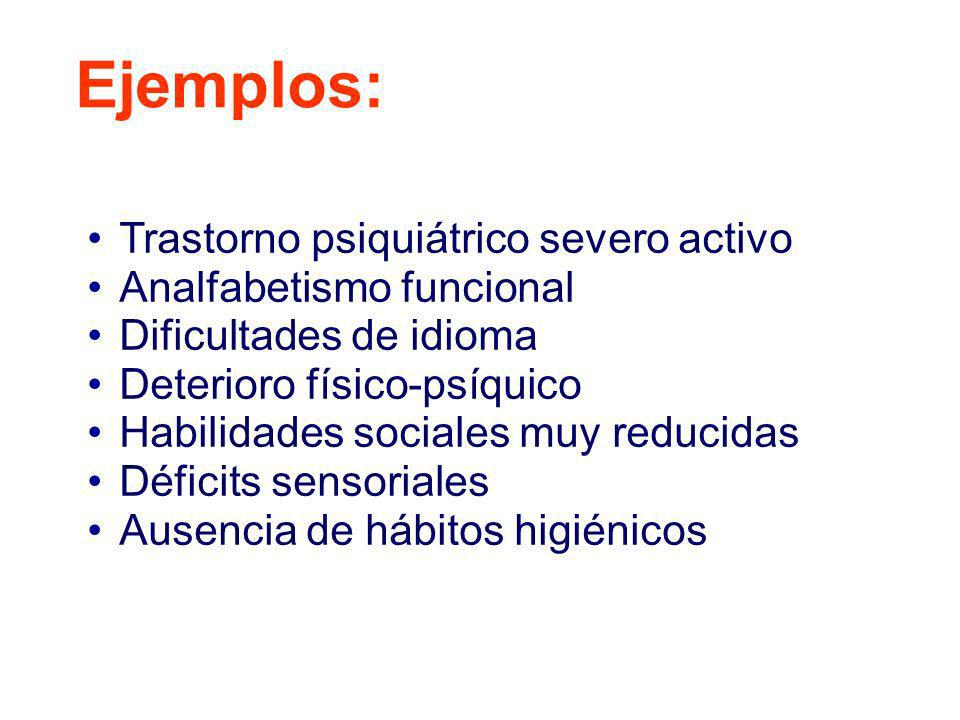 Ejemplos: Trastorno psiquiátrico severo activo Analfabetismo funcional