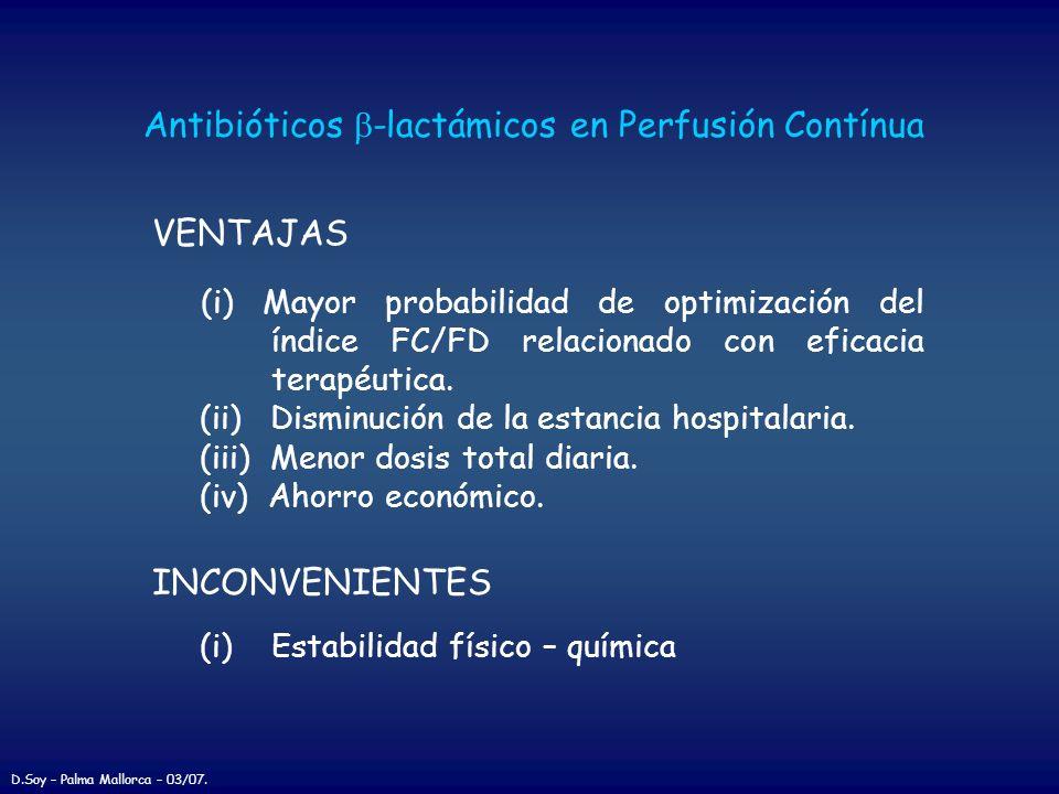 Antibióticos b-lactámicos en Perfusión Contínua