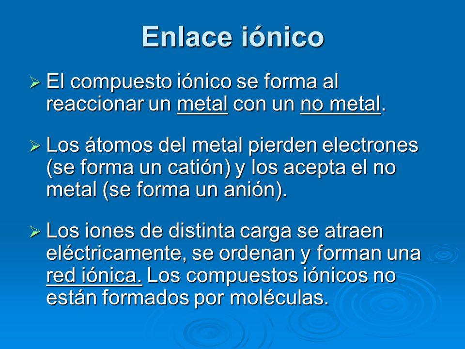 Enlace iónico El compuesto iónico se forma al reaccionar un metal con un no metal.