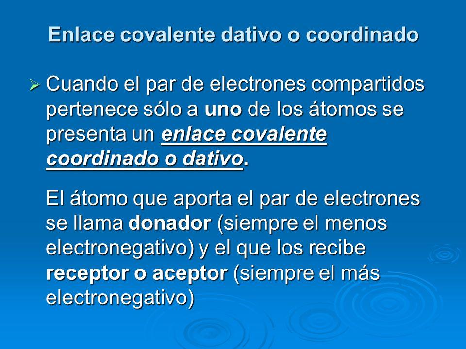 Enlace covalente dativo o coordinado