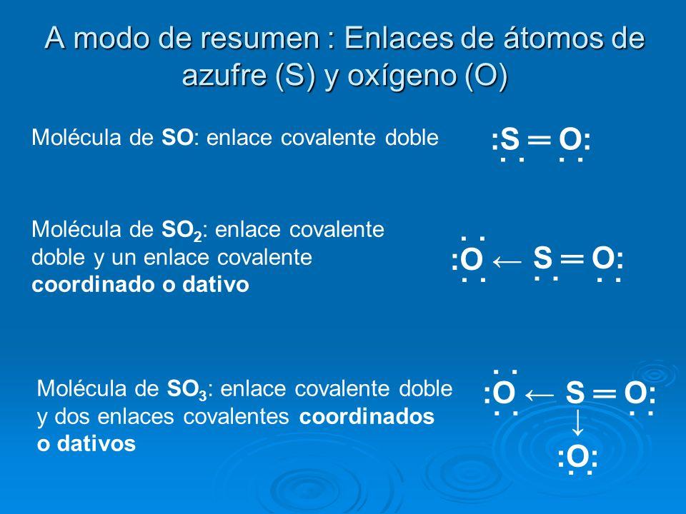 A modo de resumen : Enlaces de átomos de azufre (S) y oxígeno (O)