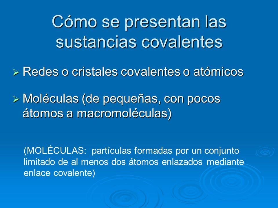 Cómo se presentan las sustancias covalentes