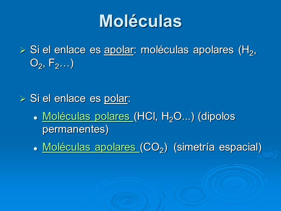Moléculas Si el enlace es apolar: moléculas apolares (H2, O2, F2…)