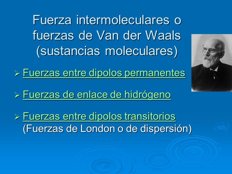 Fuerza intermoleculares o fuerzas de Van der Waals (sustancias moleculares)