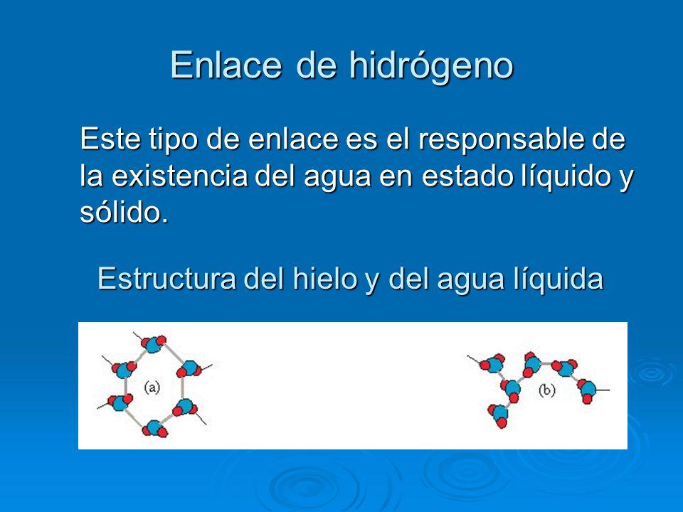 Enlace de hidrógenoEste tipo de enlace es el responsable de la existencia del agua en estado líquido y sólido.