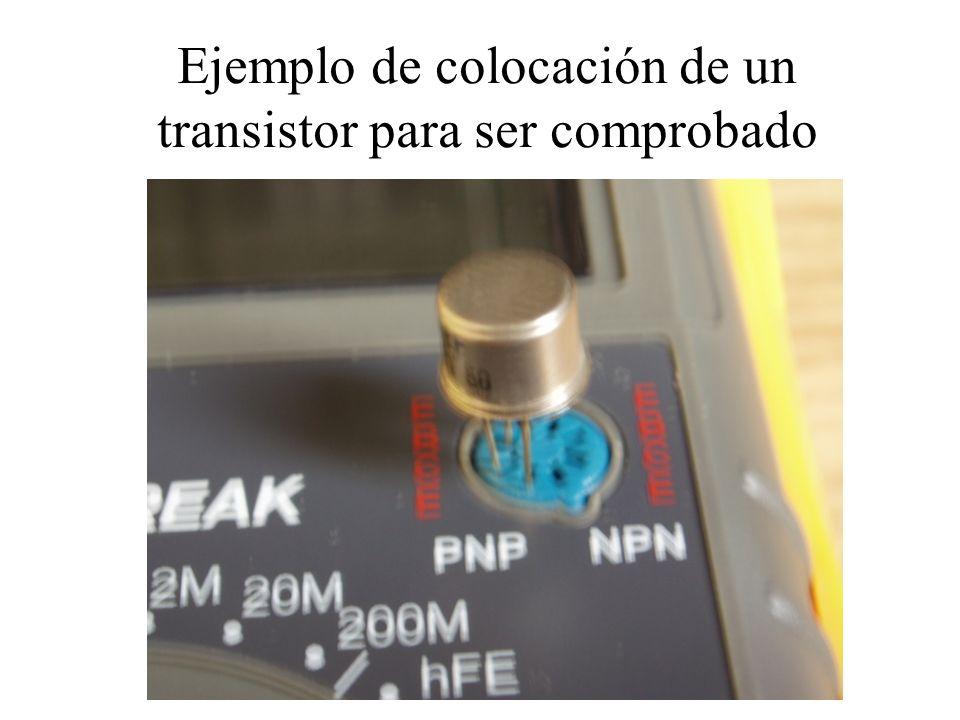 Ejemplo de colocación de un transistor para ser comprobado