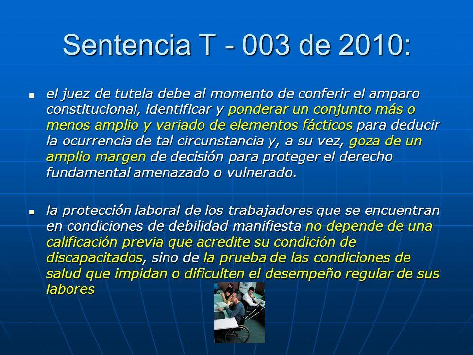 Sentencia T - 003 de 2010: