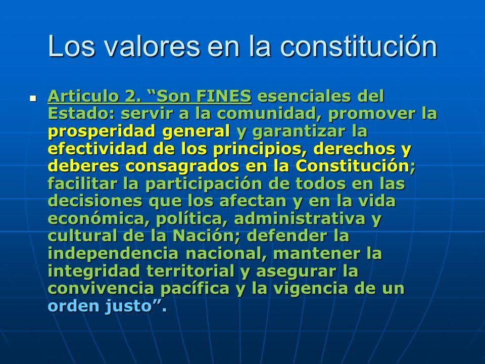 Los valores en la constitución